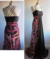 MONSOON PIPPA Maxi Evening Dress Devore Silk Pink Brown Wedding UK Size 10