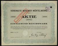 GERMANY 939/B&G -Vereinigte Berliner Mörtelwerke Aktiengesellschaft, 1000 RM1922
