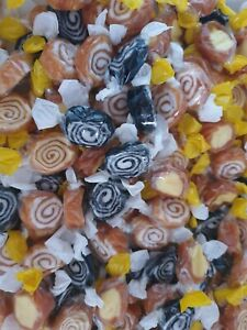 BANANA SPLITS, TOFFEE WHIRLS, LIQUORICE WHIRLS TOFFEES RETRO SWEETS CANDY