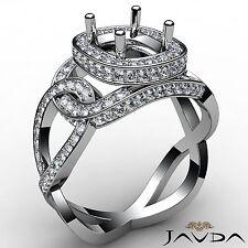 18k White Gold 1.28Ct Cushion Semi Mount Halo Pave Set Diamond Engagement Ring