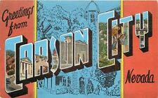 Linen Postcard NV AH C365 Greetings from Carson City Nevada Large Letters Multi