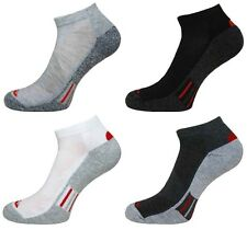 4 Pairs Mens Prohike Active Trainer Sports Socks, Grey White Black, Size 6-11