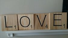 "4 Large Scrabble Tiles ""LOVE"" Wood Letters Wall Art Decor Hanging 8""x 8"""