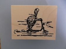 100 PROOF PRESS RUBBER STAMPS TURTLE ON SCOOTER NEW wood STAMP
