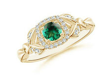 585er Gelb gold 1,55KT Natürlich Grün Smaragd IGI  Zertifiziert Diamant Ring