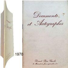 autographes documents historiques littéraires collection Sacha Guitry 1978 Ader