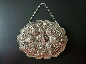 """Turkish Wedding Mirror Repousse Hanging Stamped 900 Coin Silver 5.5"""" x 4.5"""""""