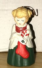 Vintage Jsny Holly Buddy Porcelain Bisque Bell 3 1/2 inches Tall