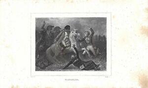 Stampa antica NAPOLEONE BONAPARTE BATTAGLIA DI WATERLOO 1839 Antique Print