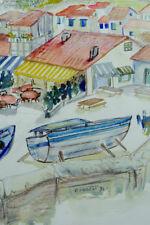 Grand tableau aquarelle bord de mer Bateau Provence signée  Charles Imbert