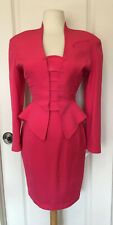 Thierry Mugler VTG Hot Pink Wool Skirt Suit Size 38- Made In France-Amazing
