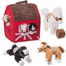 Farm Barn Horse Play Set Plush Kids Toddler Toy Pretend Stuffed Animal Gift NEW