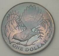 1980 NEW ZEALAND SILVER PROOF ONE DOLLAR BU UNC BEAUTIFUL COLOR TONED COIN