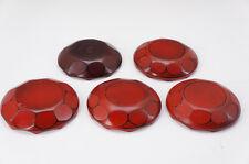 Japan URUSHI Small Plate Set 5pc UZUMAKI Spiral Pattern Free Shipping 575e24