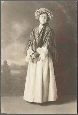 Vintage 1900s Photo Woman in Glasses Shall & Flower Bonnet 758393