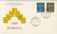 Italy 1959 Europa Celebration Double Roma Cancel FDC Two Stamps Cover ref 22396