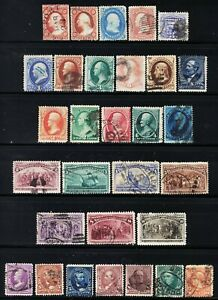 U.S. NICE LOT OF 30 DIFFERENT OLD STAMPS FROM THE 1850'S UP THROUGH THE 1890'S