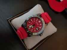 VICTORINOX Dive Master 500 Swiss Red Stainless Steel Gunmetal & Zulu Diver Strap