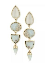 $39 LUCKY BRAND Gold-Tone Blue Stone Statement Drop Earrings A125