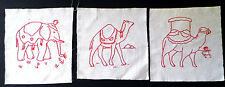 Vintage RED WORK CIRCUS ANIMALS Quilt Squares SET of 3 Embroidery Camel Elephant