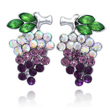 Grapes Fruit Purple Lavender Crystal Post Stud Charm Earrings Women Jewelry
