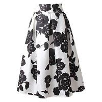 Vintage Floral Print A-Line Pleated Midi Skater Skirt High Waist Ball Gown Dress