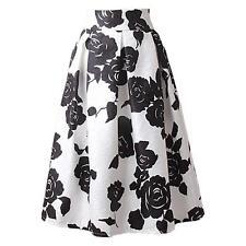 Vintage Floral Print A-Line Pleated Midi Skater Skirt High Waist Ball Gown Dress