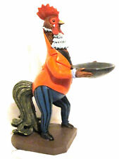 """11"""" Rooster Butler Waiter Statue w/Tray Pub or Bar Holds Extra Pennies or Mints"""