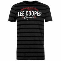 Lee Cooper Stripe Logo T Shirt Mens Gents Crew Neck Tee Top Short Sleeve Cotton
