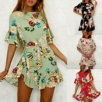 Fashion Women Spaghetti Strap Floral Print Beach Style Skater A Line Mini Dress