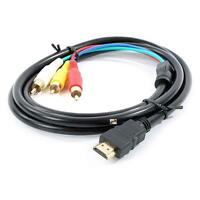 Black 1.5m HDMI-Male to 3 RCA Video Audio AV Cable Adapter For HDTV 1080P LNC