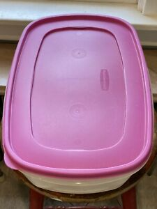 """40 Cup Rubbermaid container with Pink lid 2.5 gallon 11""""x16""""x6"""""""