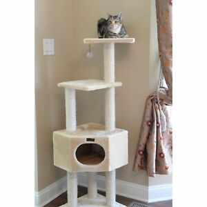 Cat Tree Condo 4 Level Beige Faux Fur Carpeting 52 Inches High Pet Furniture