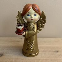 Vintage Christmas Paper Mache Angel Candle Holder, Gold Gown, Made in Japan