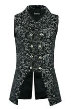 Men's Double Breasted GOVERNOR Silver Vest Waistcoat Brocade Gothic Steampunk