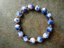 Blue, Pink & White Quartz Bead Beaded Bracelet - Genuine Gemstone
