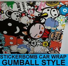 Sticker Bomb Gloss Car Wrap 1520 x 200mm - Bubble Free Wrapping Vinyl - Gumball