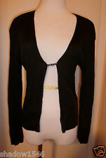 NWT LAUNDRY BY SHELLI SEGAL Black Rayon Ribbed Cardigan Sweater Size L Petite