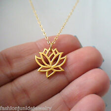 Lotus Flower Necklace - 24K Gold Plate Sterling Silver - NEW Namaste Yoga Charm