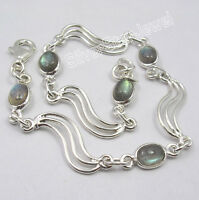 "925 Sterling Silver Original LABRADORITE WELL MADE Bracelet 8.25"" Inches ARTISAN"