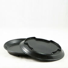 "2 Round Black Plastic Humidity Trays for Bonsai Tree & House Plant 7""x 7""x 1"""