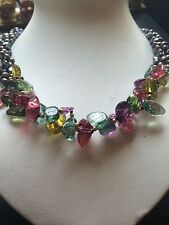 "Natural 3row Dark Gray Reborn Keshi freshwater pearl & crystal necklace 18"""