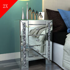 2x Nightstands Pair of Crystal Mirrored Bedside Tables Cabinets Drawers Cupboard