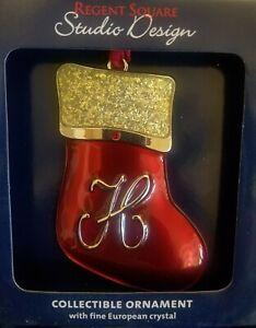 "STUDIO DESIGN Regent Square Initial Letter ""H"" Stocking Ornament SWAROVSKI Cryst"