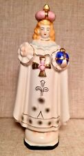Vintage Infant of Prague Statue with Planter Porcelain Gold Accents Mid-Century