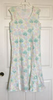 Green Cotton By Garnet Hill Sleeveless Floral Nightgown White Green Size M