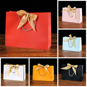 Ribbon Tie Bow Gift Bags Rope Handle Wedding Birthday Party Bag Favour Decor