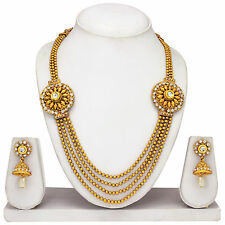 South Indian Gold plated traditional Necklace & earrings, temple jewelry set