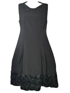ANTONIO BERANDI Black Midi Dress Fit & Flare Floral Hem Size IT42 UK10