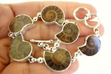 Fossil Ammonite 925 Sterling Silver link Bracelet